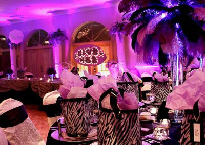 photo of tropical adult theme party with palm trees